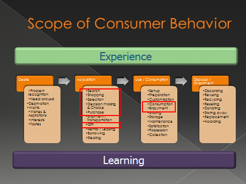 consumer behaviour its scope Consumer behavior can be conceptualized by introducing a theoretical framework which defines its scope and boundary and identifies six developmental levels the infancy stage, level i, is.